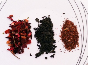 Blueberry hibiscus, Green gunpowder and masala chai